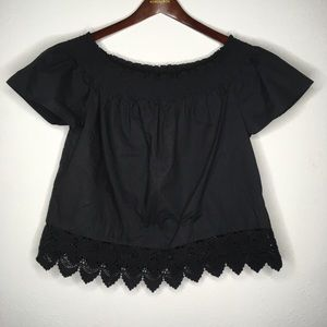 Who What Wear Black Off The Shoulder Lace Hem Top